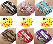 One Direction Leather Bracelet Silver Infinity Love Heart Charm Braided 1D Gift