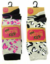Ladies Modern Casuals Animal Print Ankle Socks UK 4-7 3 Pairs Style SK256A