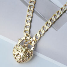 "9K Yellow Gold Filled Necklace Solid Euro Chain With Heart Locket ""Stamp 9K"""