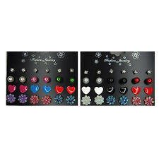 Set of 12 Earrings Fashion Stud Post Earring Pairs Flowers Heart Round Clear Cz