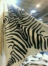 "COW SKIN HIDE RUG THROW ZEBRA PRINT BLACK/WHITE 72"" x 72"" REDUCED"