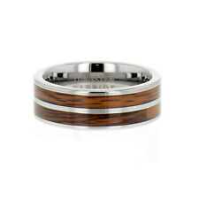 8mm Tungsten Carbide Two Stripes Wood Inlay Men's Wedding Band Ring
