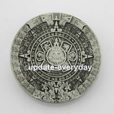 New Silver Aztec Mayan Calendar Mens Metal Belt Buckle Black Leather Western