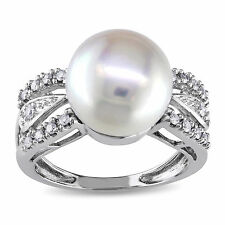 Miadora 14k White Gold 1/6 TDW Diamond Cultured Freshwater Pearl Ring (G-H, I1-I