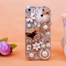 For iPhone 4S 5S Luxury Bling Plush fox Crystal Diamond Hard Case Clear Cover