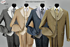 Men's 3 piece Luxurious Classic Gangster Pinstripe Wool Feel Suit Fortino 2911V