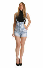 NEW LADIES WOMEN DENIM LIGHT WASH BLUE MINI RIPPED DUNGAREE SHORTS 6 8 10 12 14