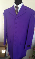 Men's long coat jacket, 7 square button zoot suit / come with pants Purple #903P