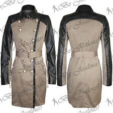 Ladies Buttons Belted PVC Collor Coat Long Sleeves Womens Long Jacket Top Size