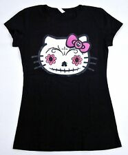 HELLO KITTY Zombie Skull Tee Womens Juniors T-shirt Day Of The Dead S,M,L,XL New