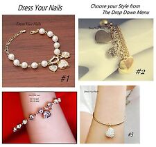 Charm Bracelet Bangle Heart Crystal Pearl chain Costume Jewellery Bling -Wedding