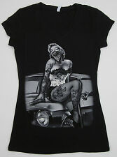 MARILYN MONROE V-Neck T-shirt Tattoo Graffiti Art Classic Car JUNIORS S-XL Black