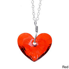 Lola's Jewelry Sterling Silver 'In Love' Heart Crystal Pendant Necklace