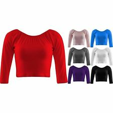 Womens Jersey Crop Top 3/4 Sleeve Cropped Gather Neck Short Tops 6 8 10 12 14