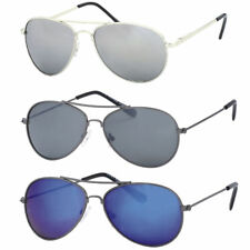 Childrens Aviator Sunglasses Kids Retro Pilot Mirrored Silver Shades Metal Frame