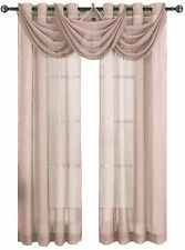 Single 100% Polyester Mauve Abri Grommet Crushed Sheer Window Curtain Panel