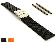 Mens Silicone Rubber Watch Straps Band Waterproof Deployment Clasp Summer Tyre