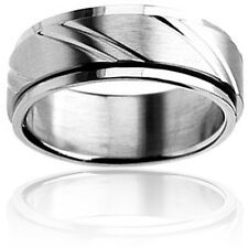 West Coast Jewelry Stainless Steel Contemporary Laser Notch Design Spinner Ring