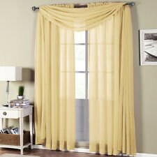 Abri Soft-Gold Rod Pocket crushed sheer curtain panel.
