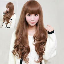 Fashion Womens Long Loose Wavy Curly Hair Ladies Full Cosplay Dress Wig Free Cap