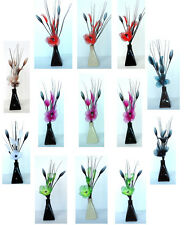 Silk Nylon Flowers In a Ceramic Pyramid Vase - Small Flower Displays 33 Colours