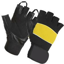 Real Leather Weight Lifting Glove Body Building Gloves With Wrist Support Straps
