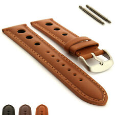 Mens Rally Racing Style Genuine Leather Watch Strap Band Monte Carlo SS Buckle