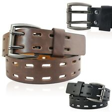 """MENS REAL LEATHER BELTS 1.5"""" BELT IN BLACK AND BROWN WITH 2 PRONG BUCKLE 0805"""