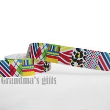 """1""""25mm Colourful Printed Grosgrain Ribbon 10/50/100 Yards Hairbow Wholesale"""