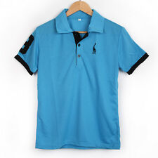 Hot 2014 Spring and Summer Men Fawn Embroidered Short Sleeve Blue Polo Shirt