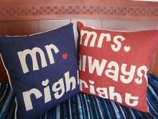 NEW Decorative Pillow Cases Mr Mrs Always Right Funny Wedding Gift Cushion Cover