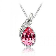 18K WHITE GOLD GP SWAROVSKI Elements CRYSTAL WATER DROP NECKLACE Wedding Party