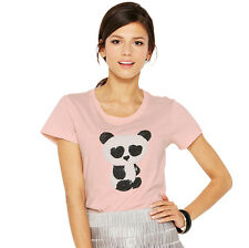 FRENCH CONNECTION FCUK Cute Embellished Sequin Panda T Shirt Top Pink  (83)