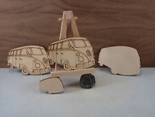Wooden VW campervan / Bus shape craft blank, keyring, Plaque, crafts, pyrography