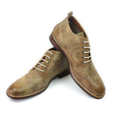 New Men's Tan Ferro Aldo Ankle Boots Cap Toe Suede / Leather Lace Up NEW STYLE