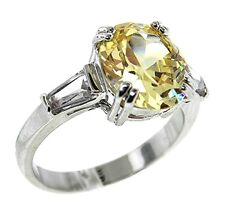 3CTW YELLOW CANARY OVAL+ CLEAR BAGUETTE SIDE CUBIC ZIRCONIA RING BRIDAL