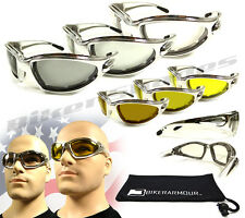 Chrome Motorcycle Transition Sunglasses Goggles Light Adjusting Photochromic