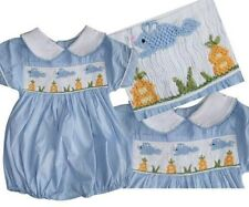 Light Blue Smocked Easter bubble Romper 3m,6m,9m,2T,3T,4T