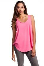 LNA Tulum Tank Hot Pink Shirt Top jersey cotton polyester slips on relaxed fit