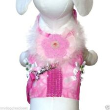 """2 Pc Dog Harness Vest & Leash Cha Cha Couture - Pink Princess - Up to 20"""" Chest"""