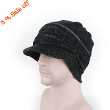3 Colors Brim BEANIE Mens Womens Cap Hats Knit Crochet Rasta Black Gray Brown