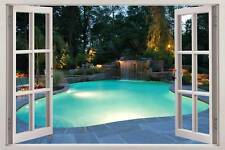 Swimming Pool 3D Window View Decal WALL STICKER Home Decor Art Enchanted Garden
