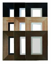 Flat Pine wooden photo frame with mount Various colours and sizes
