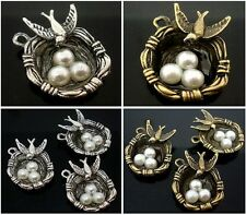 10pcs Bird's-nest Three-Eggs Metal Charm Pendants Round Bronze Tibet Tone 25mm