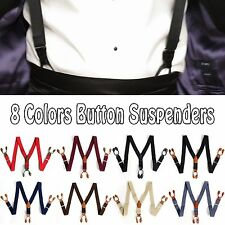 Mens Elastic Leather Suspenders Adjustable 6 Button hole Braces Fittings 8Colors