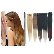 Premium Clip-in Dip Dye Ombre Remy Human Hair Extensions 1/2 Full Head 18""