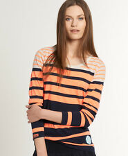 New Womens Superdry Block Stripe Long Sleeve T-Shirt Navy