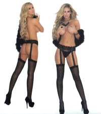 Elegant Moments 1714 Sheer Stockings Lace Garterbelt 1pc Reg or XL Queen Black
