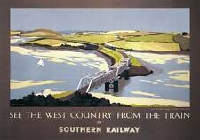Cornwall, Padstow. Vintage Southern Railway Travel poster art by EH Hubbard