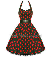 BLACK WITH BIG RED POLKA DOTS DRESS PINUP SWING 1950's VINTAGE ROCKABILLY 0211